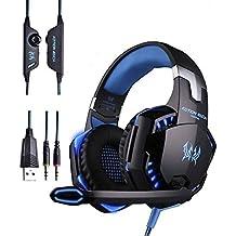 LESHP Active Cancelación de Ruido Auriculares , Auriculares de Diadema Retráctil Cascos Bluetooth ANC con Micrófono Deep Bass Auriculares Sobre El Oído (G2000 Gaming Auricular Azul)