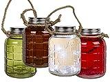 Licht Glas Deko Windlicht LED Lichterkette Vintage Landhaus Style Einmachglas (Rot)