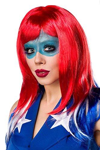 Sexy Miss America Kostümset Kostüm Superheld Held Heldin Blau Rot Weiß; Größe: M - 4