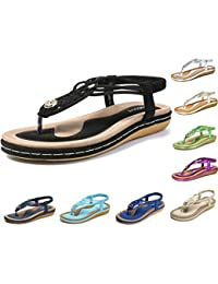 b21cee9859568 Socofy Women s Flat Sandals Summer Clip Toe Flip Flops Thongs Bohemian  Style Beach Shoes with Wedge