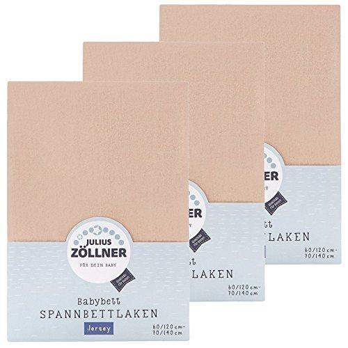 Zöllner Spannbetttuch Jersey 70x140 / 60x120 Sand 3er Pack