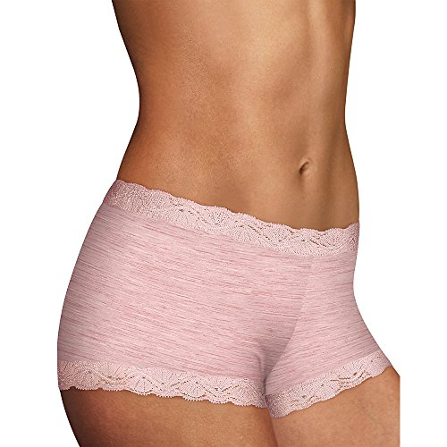 Maidenform Womens Microfiber and Lace Boyshort (40760) -Pink Heath -6 -