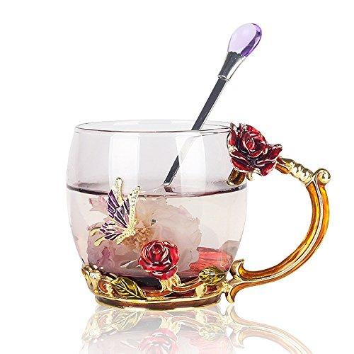 Do4U Femmes Unique Nouveauté 3D Fleur Verre Café Tasses Tasses avec Cuillère Parfait pour Espresso, Eau, Jus, Thé, Boissons Chaudes, Latte, Lait, Cadeau Court (Rose Bleue) (Rose Rouge, Court)