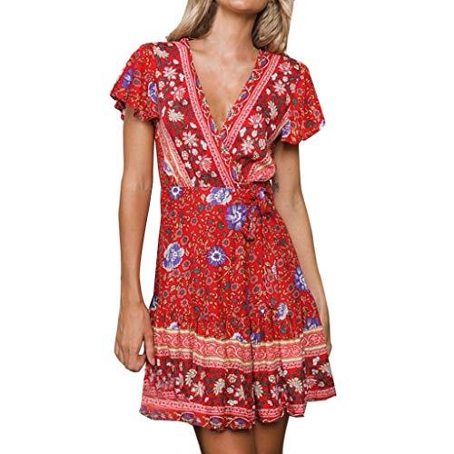 POPLY Damen Boho V-Ausschnitt Sommer Party Abend Strand Langes Kleid Sommerkleid Elegant Jahrgang Floral Drucken Cocktailkleider(Z-Rot,L)