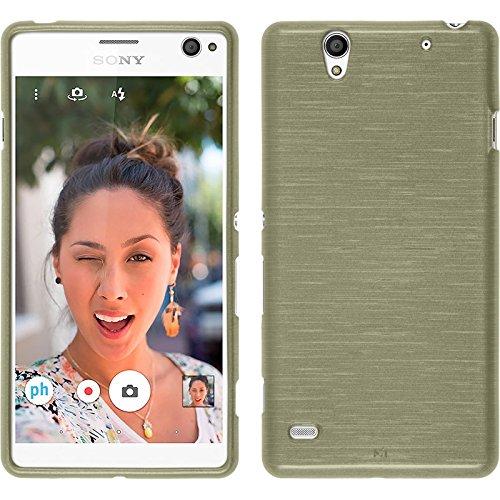 PhoneNatic Case kompatibel mit Sony Xperia C4 / Dual - Gold Silikon Hülle Brushed + 2 Schutzfolien
