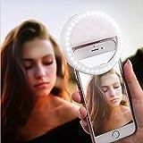 AUTOPKIO Selfie Light Ring, 36 dell'anello LED Light USB Tenebre ricaricabile supplementare selfie illuminazione notturna selfie Enhancing per la fotografia per i telefoni astuti (USB Charge) immagine