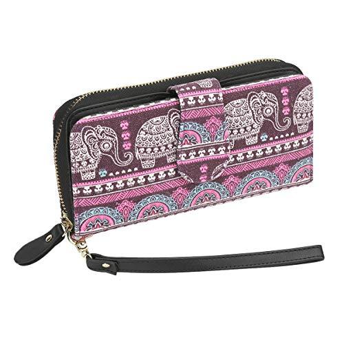 Très Chic Mailanda Geldtasche Geldbeutel Tasche Portemonnaie umlaufende Reißverschlüsse mit Design groß für Damen, Lila-elefant 2, 19.5 x 10 x 4 cm -