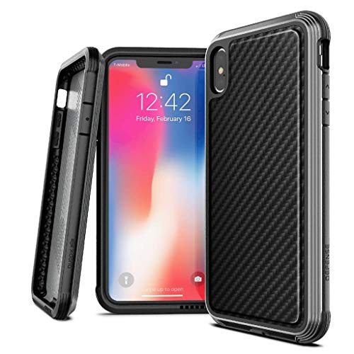 X-Doria Compatible 2018 iPhone XS MAX, iPhone 6.5 Pulgadas Funda, Defense Lux Series, Grado Militar Drop Probado Desde 3m, Estuche Protector para Apple iPhone XS MAX, Black Carbon