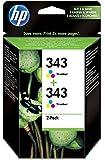 HP 343 Multipack Original Druckerpatronen (2x Farbe) für HP Deskjet, HP Officejet, HP Photosmart, HP PCS