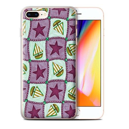 Stuff4 Gel TPU Hülle / Case für Apple iPhone 8 Plus / Pfirsich/Lila Muster / Boote und Sterne Kollektion Violett/Grün