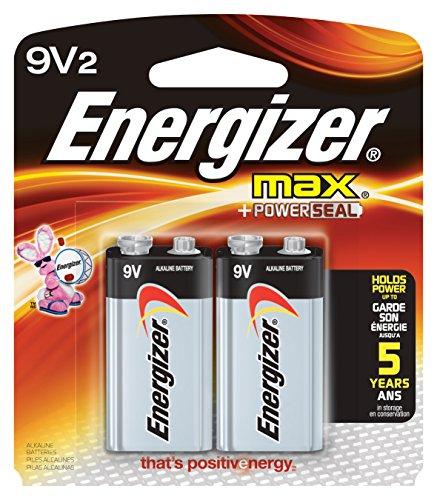 Energizer 522BP Alkali 9V Batterie-Batterien (Alkali, Flachmann, 9V, 2Stück (S), 9V, 595mAh) Energizer Max 9v Batterien