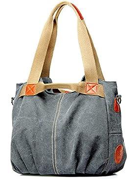 Tibes beiläufige Segeltuch Handtaschen Retro Schulterbeutel Handtaschen der Frauen