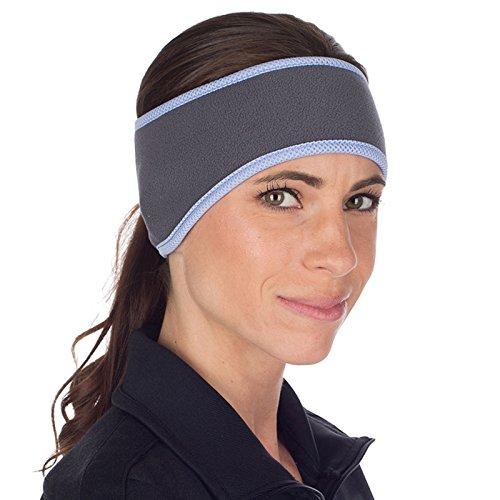 TrailHeads Pferdeschwanz-Stirnband für Damen   Ohrenwärmer aus Vlies   Stirnband für Winterläufe - grau/blau