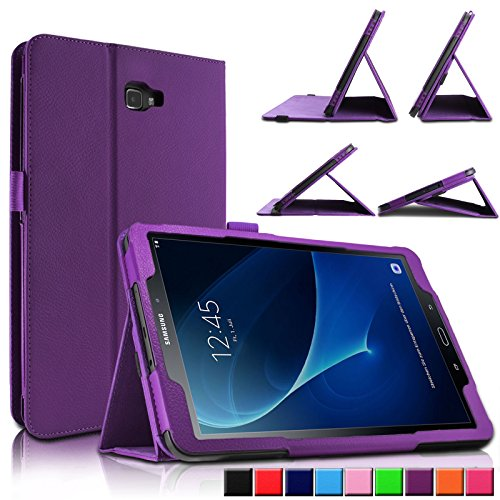 Samsung Galaxy Tab A 10.1 Hülle Case, Infiland Slim Fit Folio PU-lederne dünne Kunstleder Schutzhülle Cover Tasche für Samsung Galaxy Tab A 10.1 Zoll Wi-Fi/ LTE (2016) SM-T580N/SM-T585N Tablet-PC(mit Auto Schlaf / Wach Funktion)(Lila) (Lila Tablet Tasche)