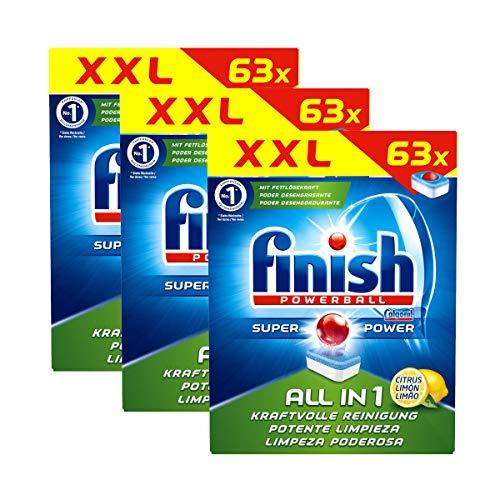 Finish All in 1 Citrus Spülmaschinentabs 63 Tabs 3er Pack, 189 Geschirrspültabs gesamt