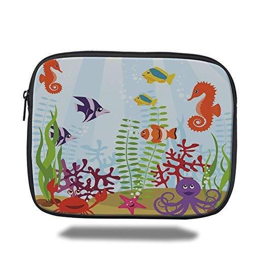Tablet Bag for Ipad air 2/3/4/mini 9.7 inch,Aquarium,Friendly Sea Animals Tropical Aquatic Habitat Collection Seahorse Crab Octopus Decorative,Multicolor,Bag -