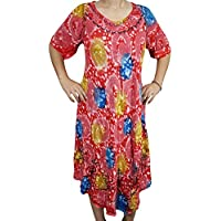 Mogul Interior Aruba Womens Summer Dress Floral Printed Gypsy Beach Coverup Resort wear Dresses