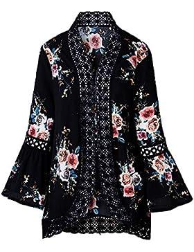 Flyself Cárdigan Kimono Encaje Casual Mujer Talla Grande Floral Chaqueta Chal Verano Outerwear Jersey Cárdigan...