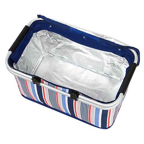 HQdeal escursione di campeggio picnic ha isolato la borsa termica pranzo borse termiche Box Paniere Basket for Food con maniglia di alluminio pieghevole Grande Blu