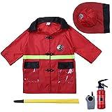Tiaobug Kinder Feuerwehr Uniform Einsatzjacke Ausrüstung Kleinkind Kostüm für Jungen Feuerwehrmann Verkleidung Fasching Karneval Party Kostüm Outfits Accessoire (Feuerwehrmann)