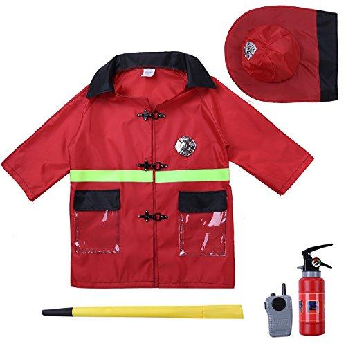 Tiaobug Kinder Feuerwehr Uniform Einsatzjacke Ausrüstung Kleinkind Kostüm -