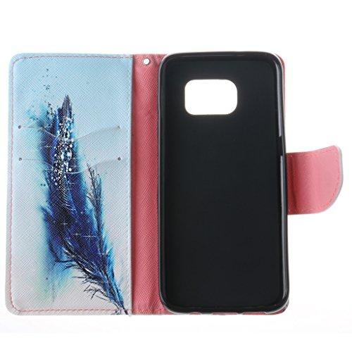 JGNTJLS Custodia a libro, per iPhone 6/6S da 11,9 cm (4,7), con salvaschermo in vetro temperato, in similpelle PU di alta qualità, con scomparti per carte di credito, ultra sottile, funzione cavallet Pink,Feather