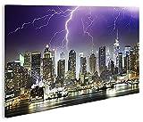 islandburner Bild Bilder auf Leinwand Storm Over NYC New York City 1K XXL Poster Leinwandbild Wandbild Dekoartikel Wohnzimmer Marke