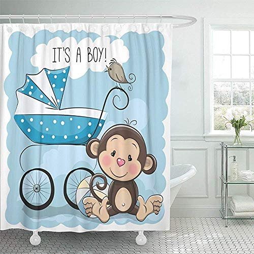 LINGJIE Duschvorhang Shower Its Boy with Baby Carriage and Monkey Cartoon Shower Curtain Shower Curtain with Plastic Hooks