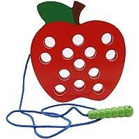 Raupe frisst Apfel Holzspielzeug Baby Cognition Match Brain Spiel Geschenk Massivholz Puzzle fr/ühe Kindheit Bildung Montessori Seil Saitenspielzeug