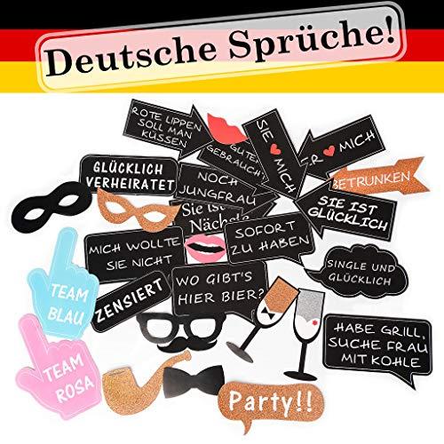 torequisiten | Photo Booth Hochzeit mit Deutschen Sprüchen | extra große Photobooth Accessoires| Fotoaccessoire| Starkes Papier |JGA ()