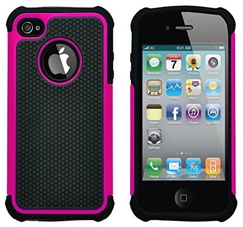 G-Shield Apple iPhone 4/4S Hülle Silikon Stoßfest Schutzhülle Dünn Tasche Hybrid Armor Cover Case Etui Handyhülle mit Displayschutzfolie und Stylus - Rosa (Iphone Pink Case 4)