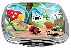 Rikki Knight Compact Mirror, Happy Insects Illustration