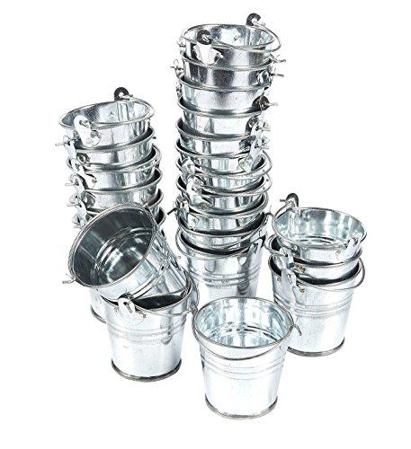 Juvale 24Stück 2Klein Metall Eimer–Mini-Blecheimer mit Griffen–Ideal für Kleine Geschenke, Süßigkeiten, Votivkerzen, Trinkets, Kleine Pflanzen–Silber