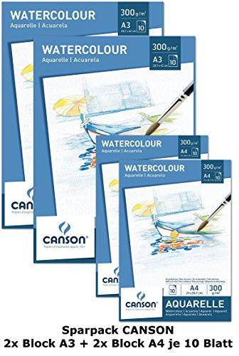 Canson Aquarellpapier 300 g/m² Aquarellblock je 10 Blatt weiß – Papier mit hoher Qualität für Aquarell Kunst säurefrei hergestellt von Canson