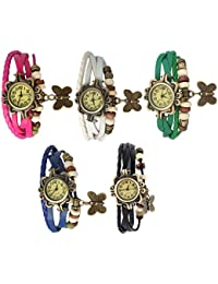 RTimes Designer Vintage Leather Set of 5 Multicolor Bracelet Butterfly Watch for Girls, Women