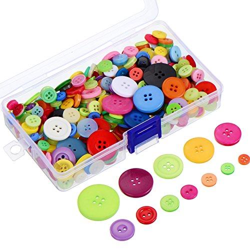 300 Stück Verschiedene Farben Resin Knöpfe 2 und 4 Löcher Runde Handwerk Knöpfe mit Kunststoff Aufbewahrungsbox für Nähen DIY ()