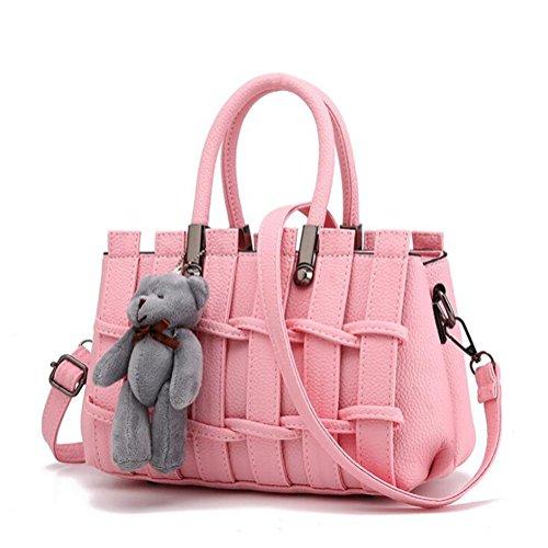 DcSpring Borsa a Mano in PU Pelle Borsa Tracolla Fashion Grande Capacità Borse a Spalla Cute Sacchetto Elegante per Donna Pink