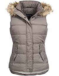Steppweste | Winterjacke | Stepp-Jacke für Damen von Urban Surface - elegante ärmellose Weste im schlanken Parka-Stil mit Fellkapuze aus Kunstpelz auch für den Übergang Herbst / Winter