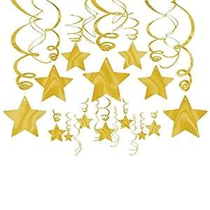 AMSCAN - Stelle filanti decorative per feste, colore: oro