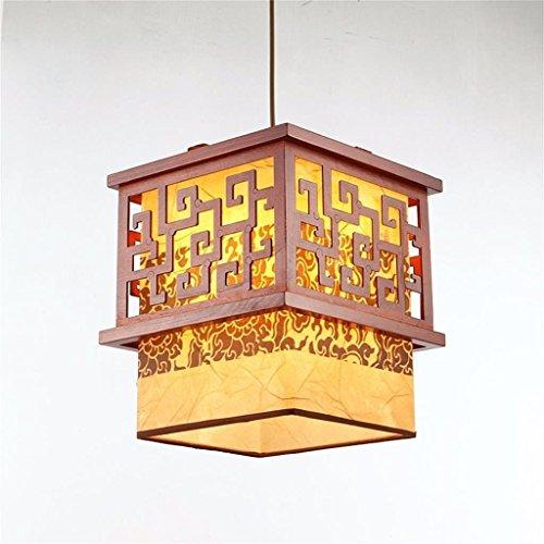 Decken KronleuchterDie chinesischen Holz Kronleuchter antiken Schaffell Restaurant Retro-Lampen Holz HAisle Palace Lichter, 26 * 26 * 30cm (Palace 5-licht)