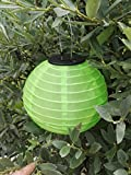 Grüner 20 cm Lampion mit warmweißer LED Solar Lampion Party