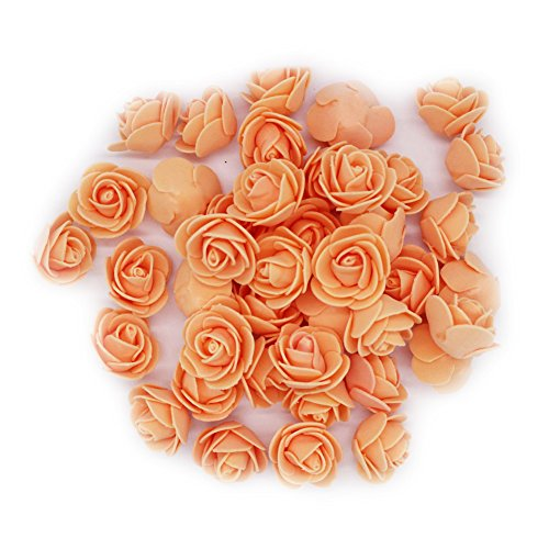 Zantec 50PCs 3CM orange künstliche Rosen Brauthaar Dekoration Kopf Blume Schöne Hochzeits Zuhause Partei Dekoration Brauthaar Dekoration (Rabatt Halloween Dekor)