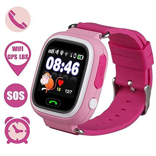 Montre-Bracelet pour Enfant Smart Watch avec SOS Anti-Perte, Alarme SIM Slot Tactile Smartwatch pour 3-12 Ans Ans Enfant Fille Garçon Compatible avec iPhone Android (Pink)