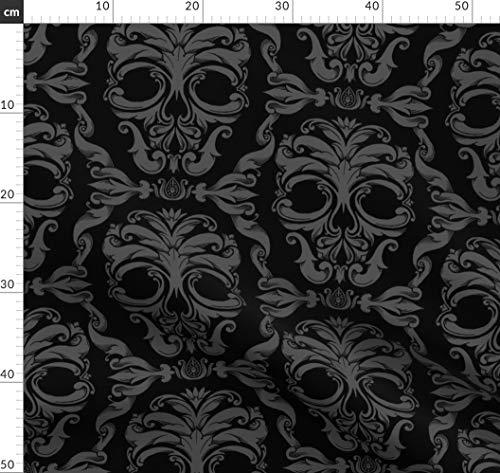 Halloween, Totenkopf, Viktorianisch, Damast, Französisch, Gothic, Stoffe - Individuell Bedruckt von Spoonflower - Design von Thecalvarium Gedruckt auf Leinen Baumwoll Canvas (Bedruckte Individuell Taschen Halloween)