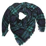 Distressed XXL Damen Oversized Schal Ÿbergro§er Deckenschal Karo Plaid Muster kariert Poncho - navy-gruen