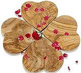 Figura Santa 4 Olivenholzbrettchen Heartbeat. Dekorationsobjekt - Schneidebrett - Frühstücksbrettchen. Wunderschön gemasertes Olivenholz! 20 x 20 cm. 4er-Set!