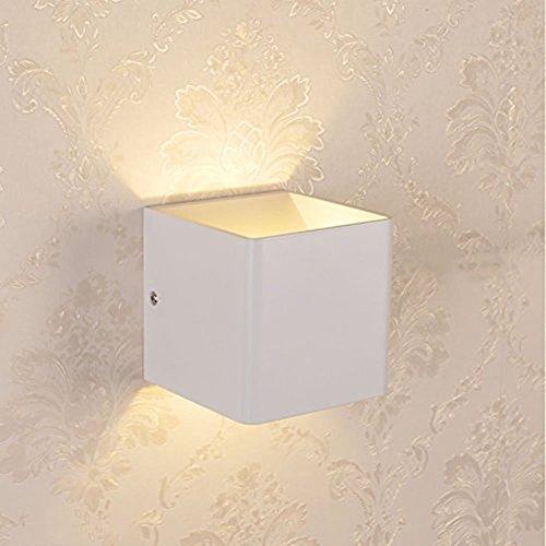 Glighone 5W Wandleuchte LED Weiss Innen Wandlampe Flurlampe Modern Up Down Aluminum Würfel Gehäuse 3000K Warmweiß (Spannungen Würfel)