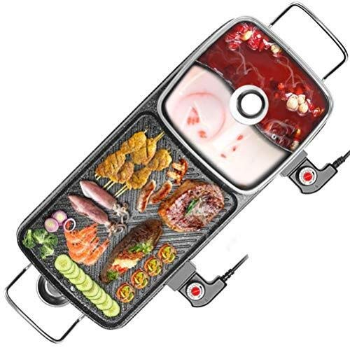 JIANPING BBQ Hot Pot, Intelligente Multifunktionssteuerung Rauchfreie Antihaft-Pfanne, Unabhängige Temperaturregelung Grill Integrierten Topf, Grill - Gerippte Pfanne,