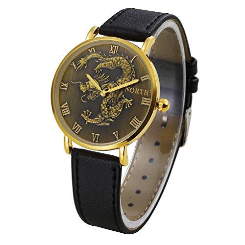 Quarzuhr, yustar Herren Wasserdicht Dragon Design Armbanduhr Echtes Leder Band Analog Quarz Armbanduhr M bronze (Wasserdicht Verizon Telefon)