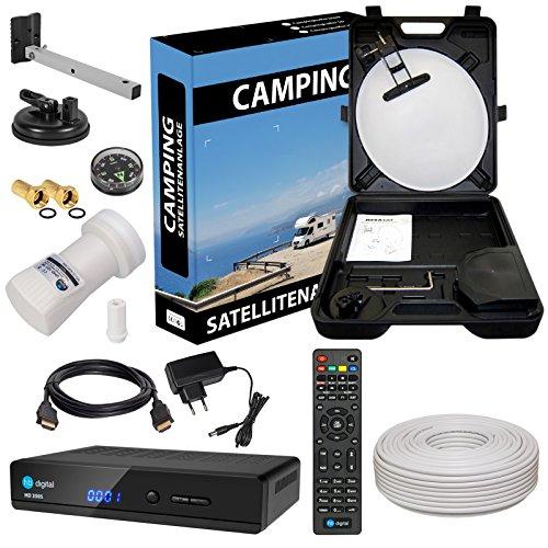 HD Camping Sat Anlage im Koffer von HB-DIGITAL: 📡 Mini Sat Schüssel 40cm Hellgrau ➕ HD 350S Receiver ➕ UHD Single LNB 0,1 dB ➕ 10m SAT-Kabel inkl. F-Stecker 💢 Full HD fähig 💢